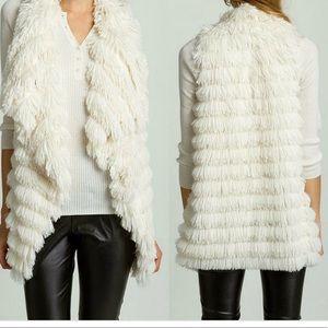 Nwts TCEC faux fur shaggy vest size large ivory